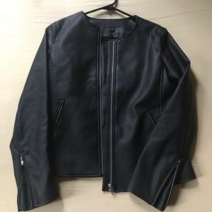 Faux Leather Collarless Zipper Jacket Uniqlo Black